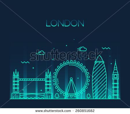 London (England) city skyline vector background. Trendy illustration, line art style.