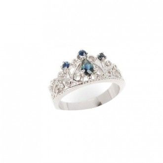 Sterling Silver Heart Crown CZ Ring