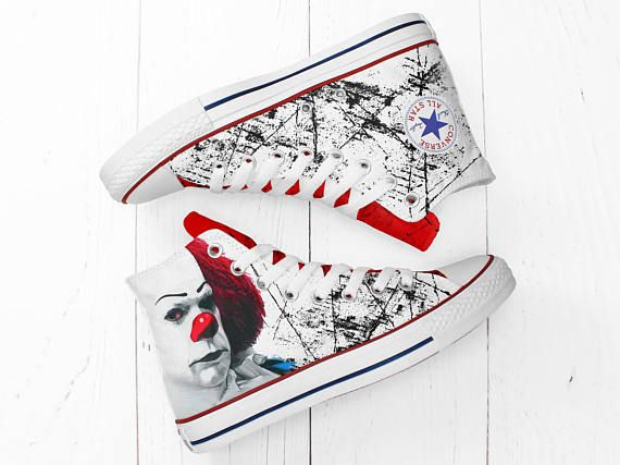 IT creepy clown Halloween custom hi top converse shoes Pennywise handmade  painted horror sneakers 1.