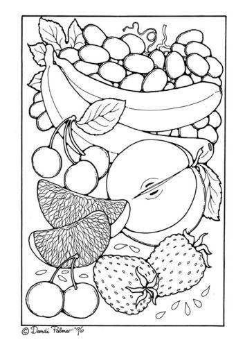 Färbung Seite Obst 2049 | Fruit and Veg Illustrations | Pinterest