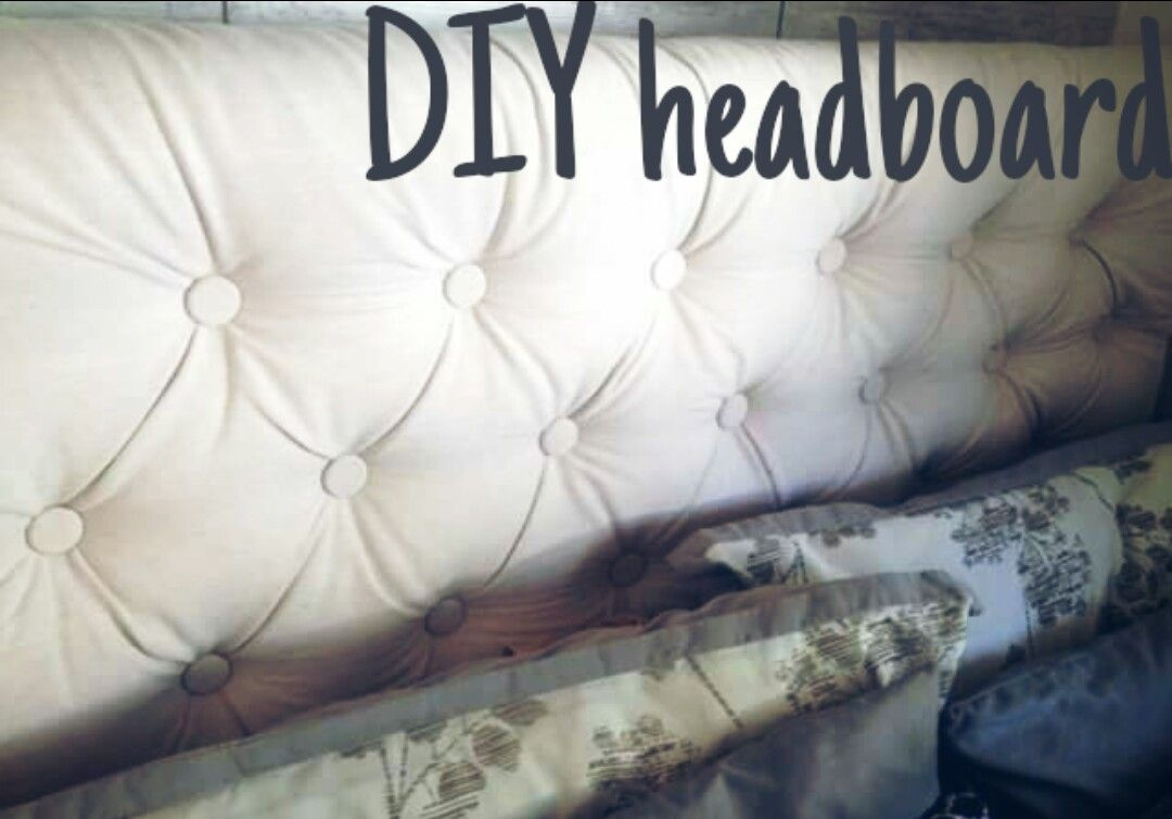 Diy Upholstered Headboard Cheat With Fake Tufts Drill Screws With Washers Around Them Directly I Diy Headboard Upholstered Canvas Drop Cloths Diy Headboard