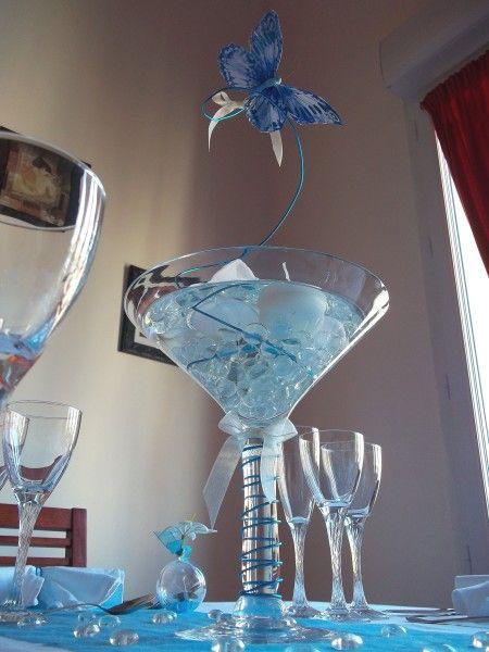 d corrations fait avec fil aluminium pour table de mariage vase en forme de verre cocktail. Black Bedroom Furniture Sets. Home Design Ideas