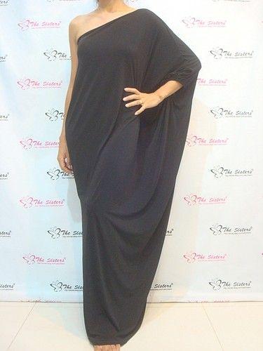 Lady Black Cocktail Long One Shoulder Maxi Dress Plus Size