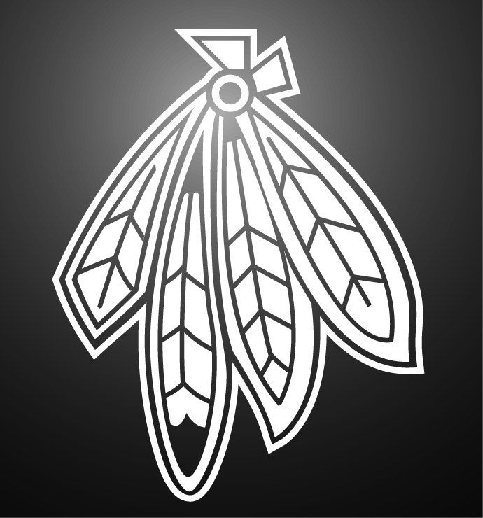 chicago blackhawks inspired decal feathers single color
