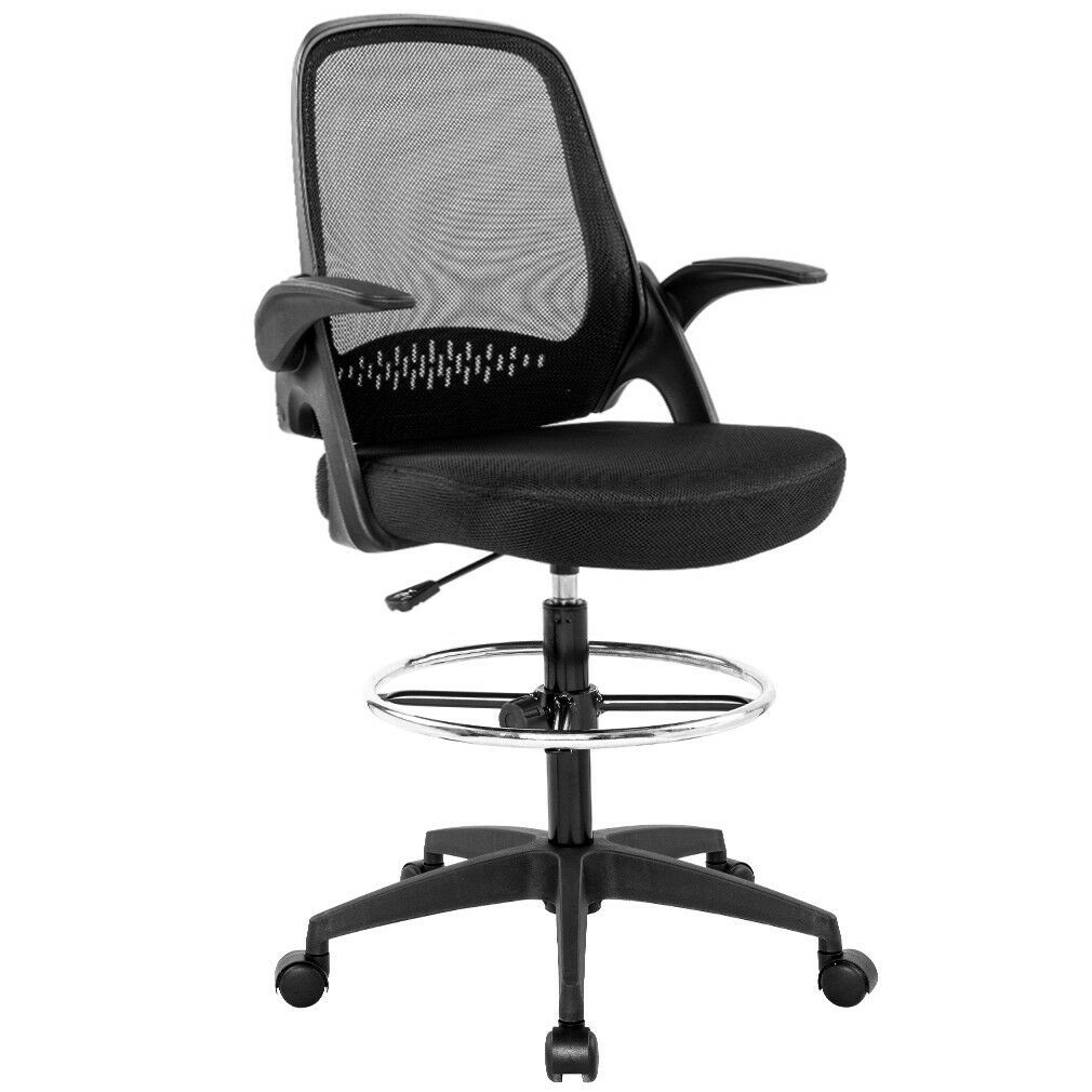 Ergonomic Mesh Drafting Chair With Lumbar Support Flip Up Arms Tall Office Chair Usa Canada Uk In 2021 Drafting Chair Tall Office Chairs Office Chair Tall office chairs with arms
