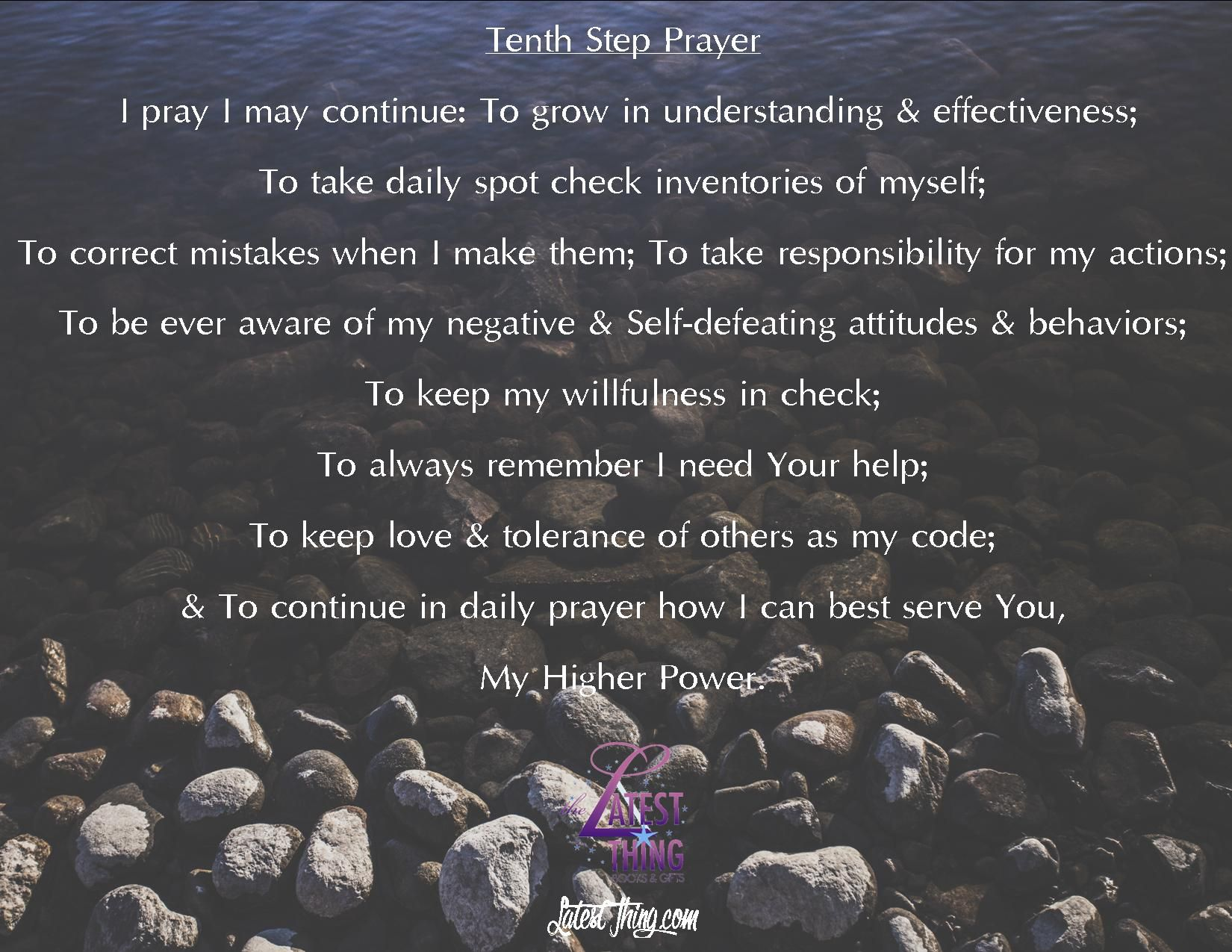 10th Step Prayer For The Month Of October 12 Step Recovery Worksheets Pray Always Prayer Times