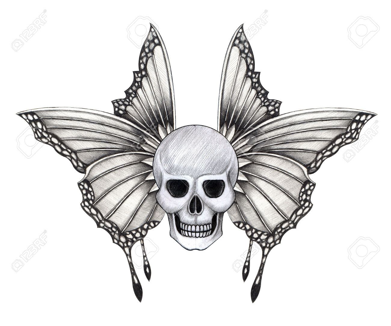 Skull Wings Tattoo.Hand Pencil Drawing On Paper. Stock ... - photo#49
