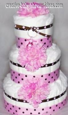 3 Tier Diaper Cake Pretty Princess Girl MOD Pink JOY Baby Shower Centerpiece