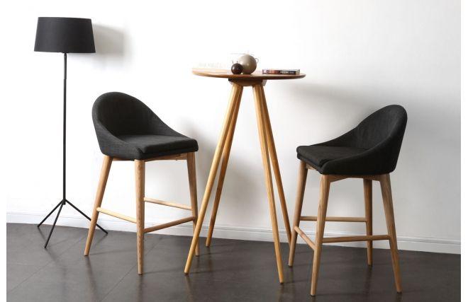 Chaise Haute Design Bois Polyester Gris Anthracite SHANA