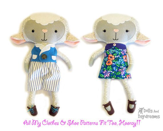Lamb PDF Sewing Pattern Stuffed Toy Animal Sheep Softie | Näh-muster ...