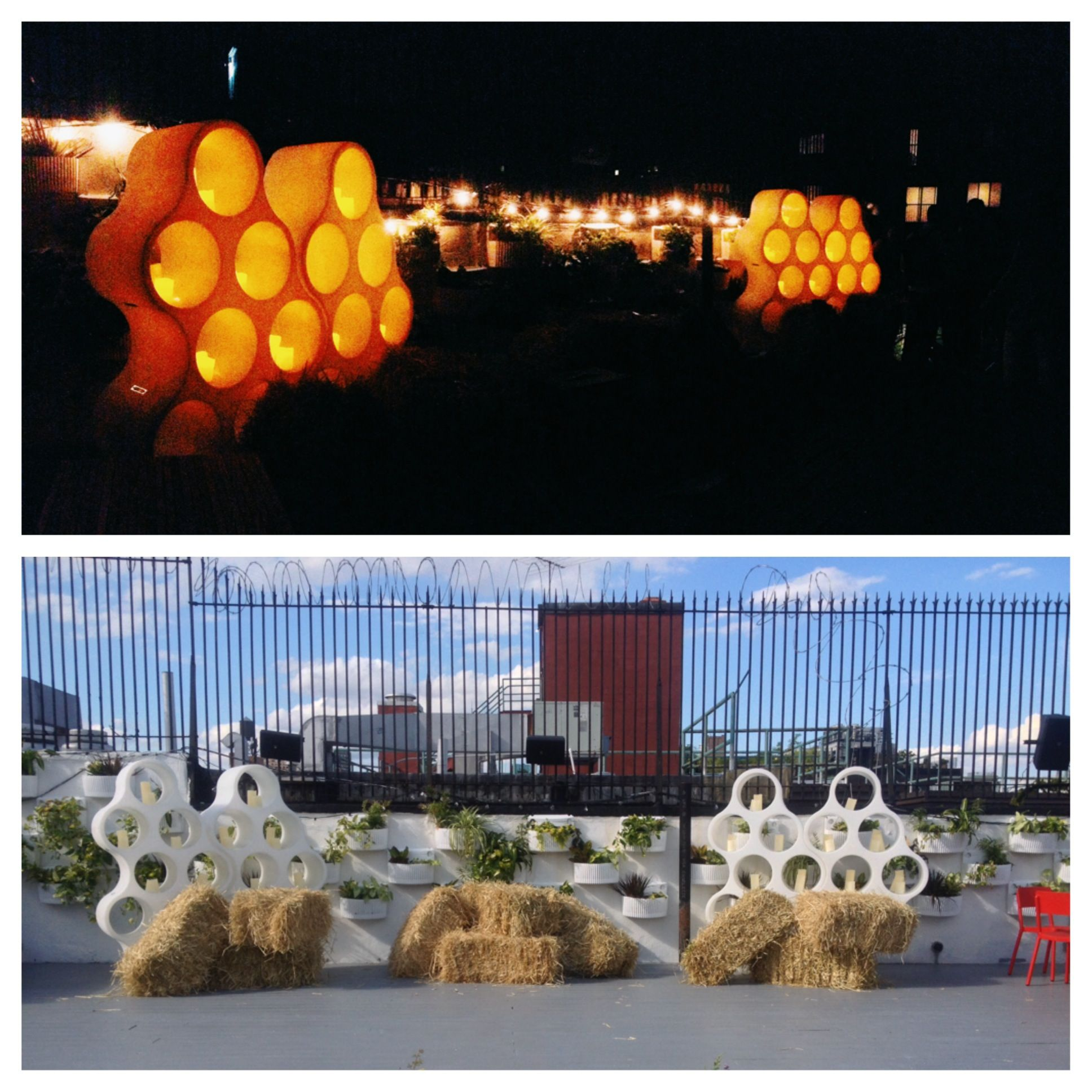 Day and Night-- Honey themed event, honeycomb-shaped cabinets with candles. Hay bales for rustic accents.