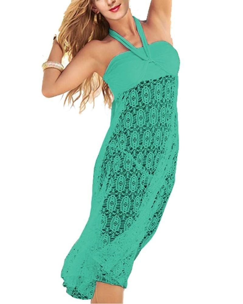 Women's Lace Crochet Tunic Beach Dress Swimwear Cover Up Wrap - Turquoise - CP17Z6GG5O4 #crochetbeachdress
