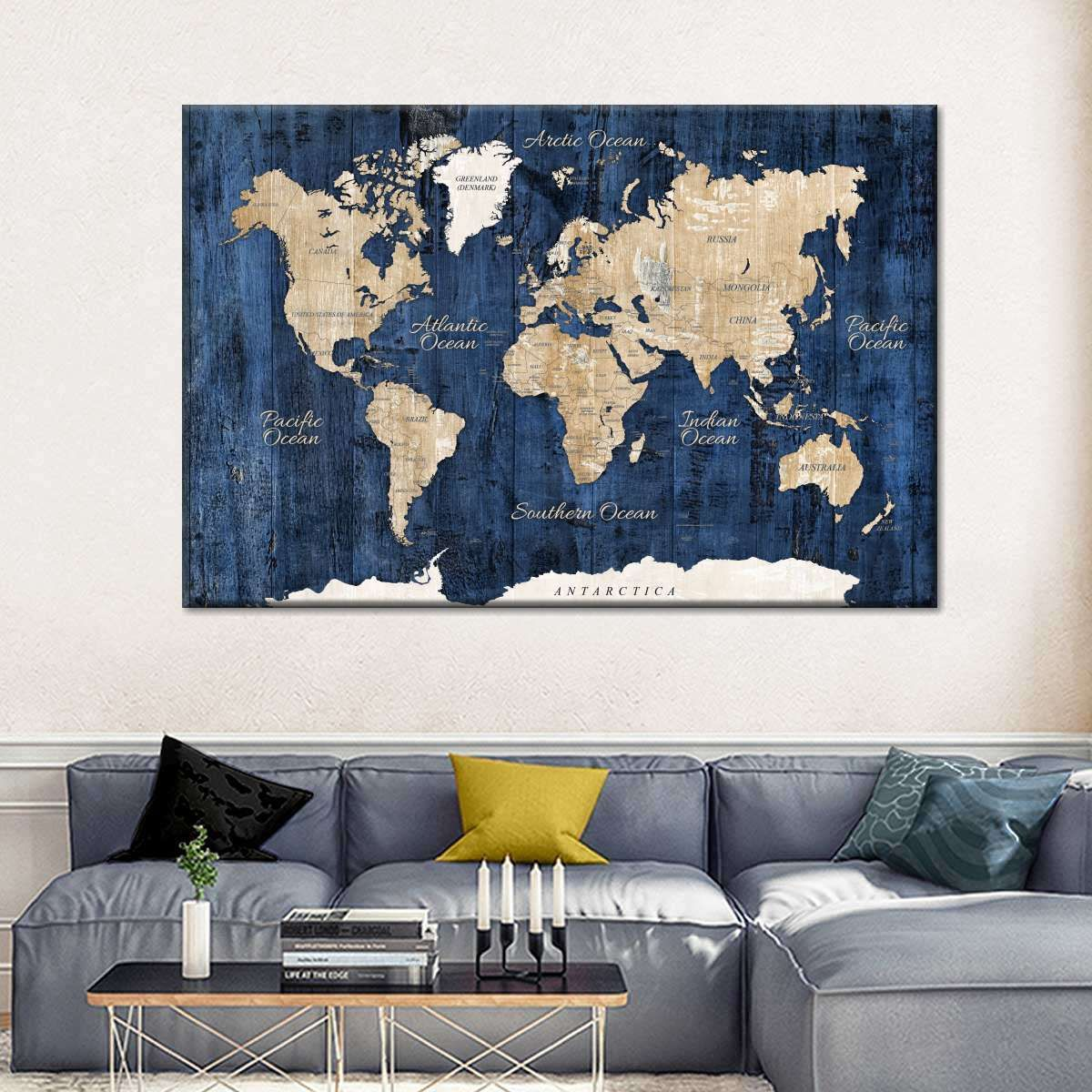 World Map On Wooden Wall Multi Panel Canvas Wall Art World Map Wall Decor World Map Wall Art World Map Decor