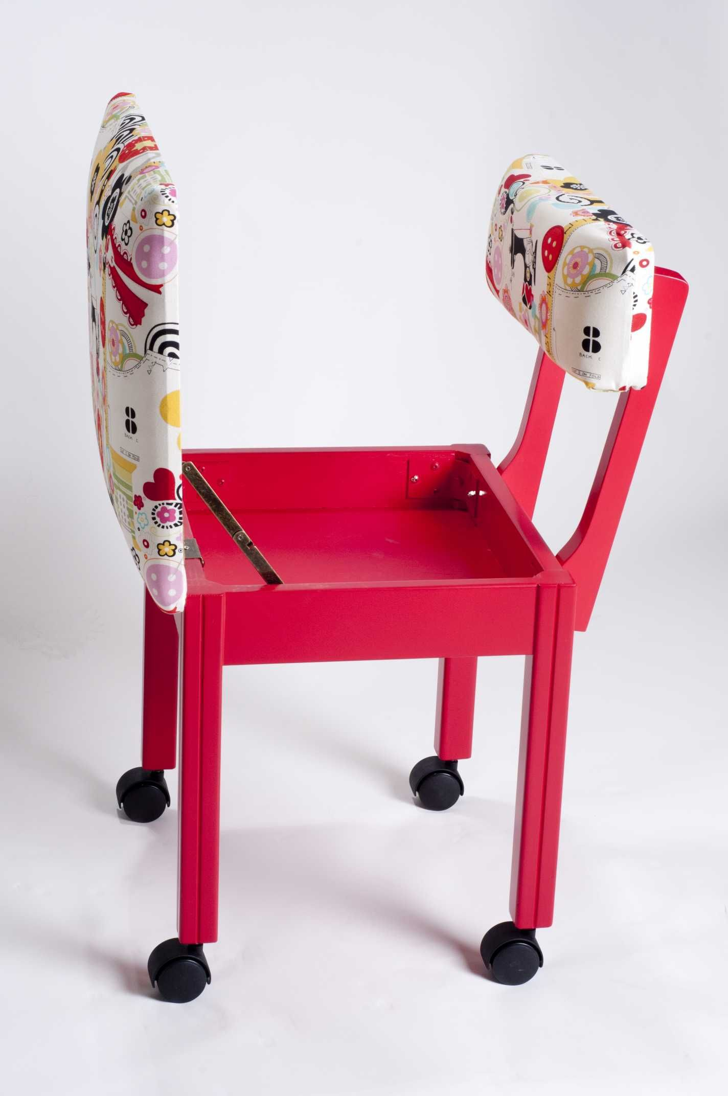 Sewing chair with lumbar support and secret hiding place storage