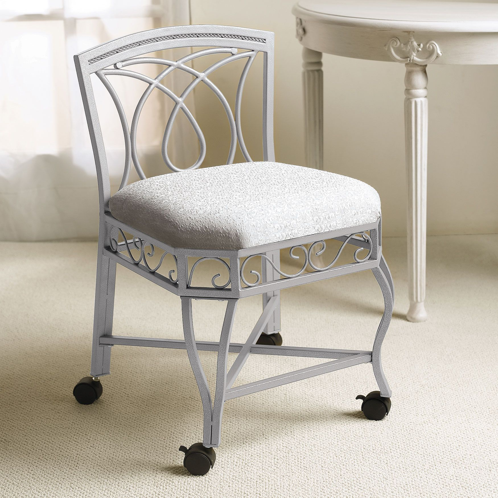 Bathroom Vanities Simple Elegant Vanity Chairs With Backs And Wheels White Lace Cushion Soft Gray Frame Stools Bench