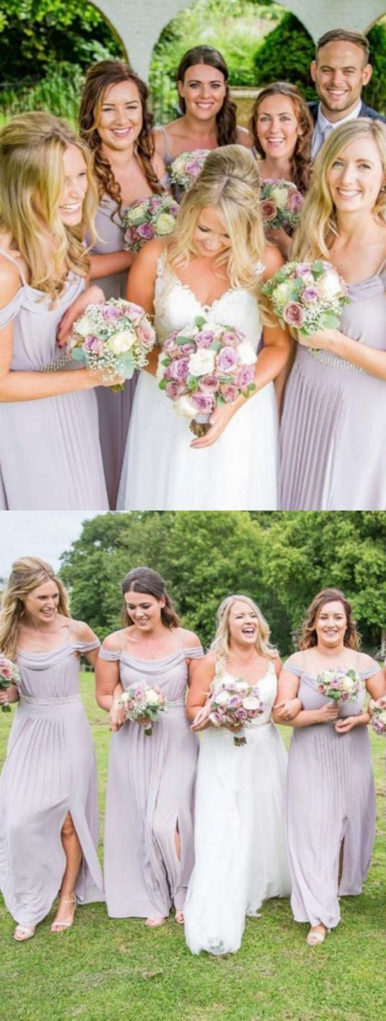 Aline spaghetti straps cold shoulder lavender bridesmaid dress