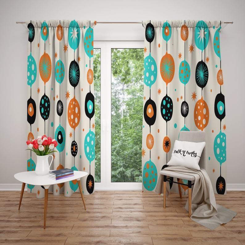 Custom Window Curtains Or Valance Mid Century Modern