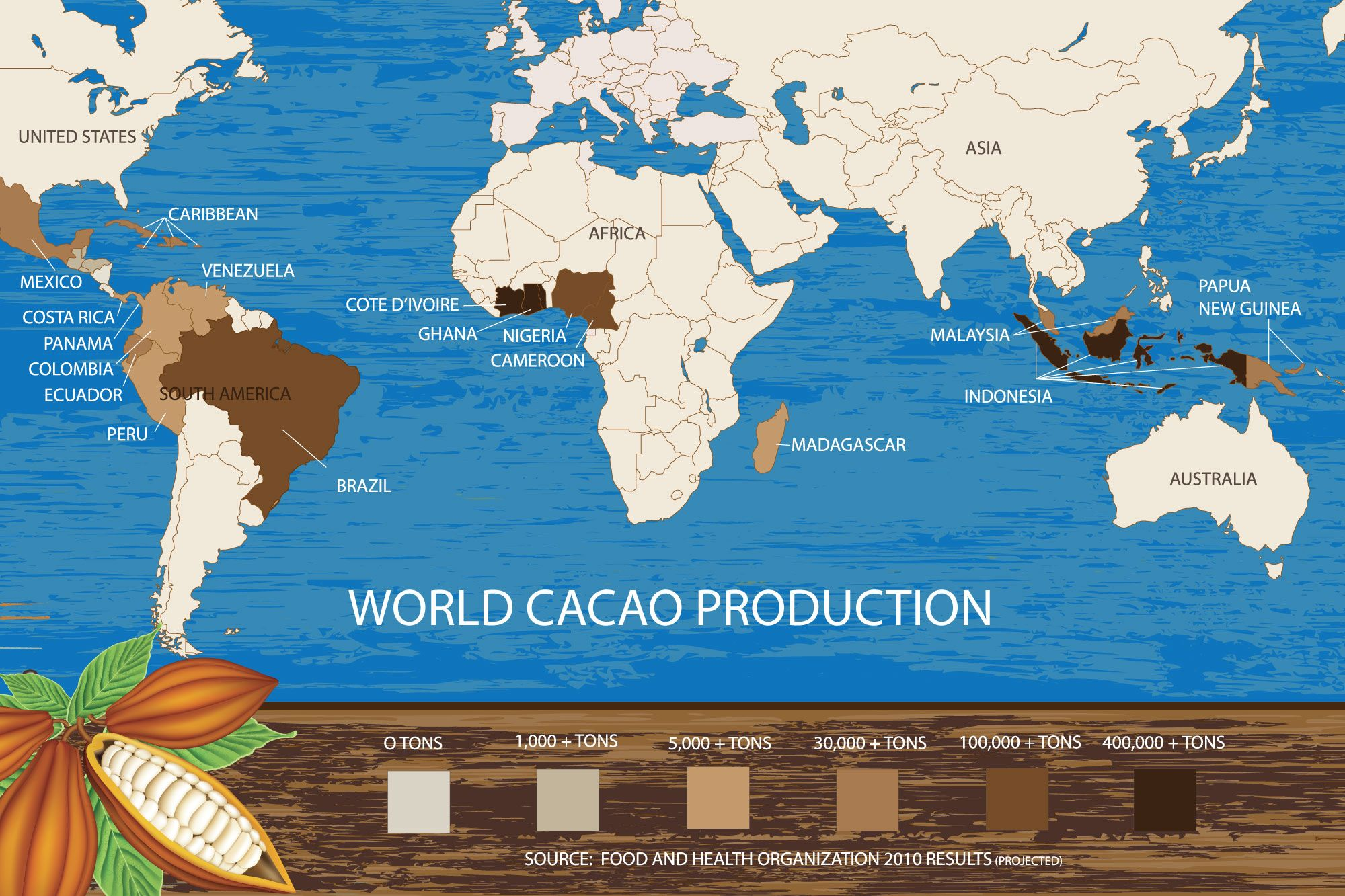 the map of cocoa bean production in the world | MY CHOCOLATE ... Arkets Global Map Of Cocoa on