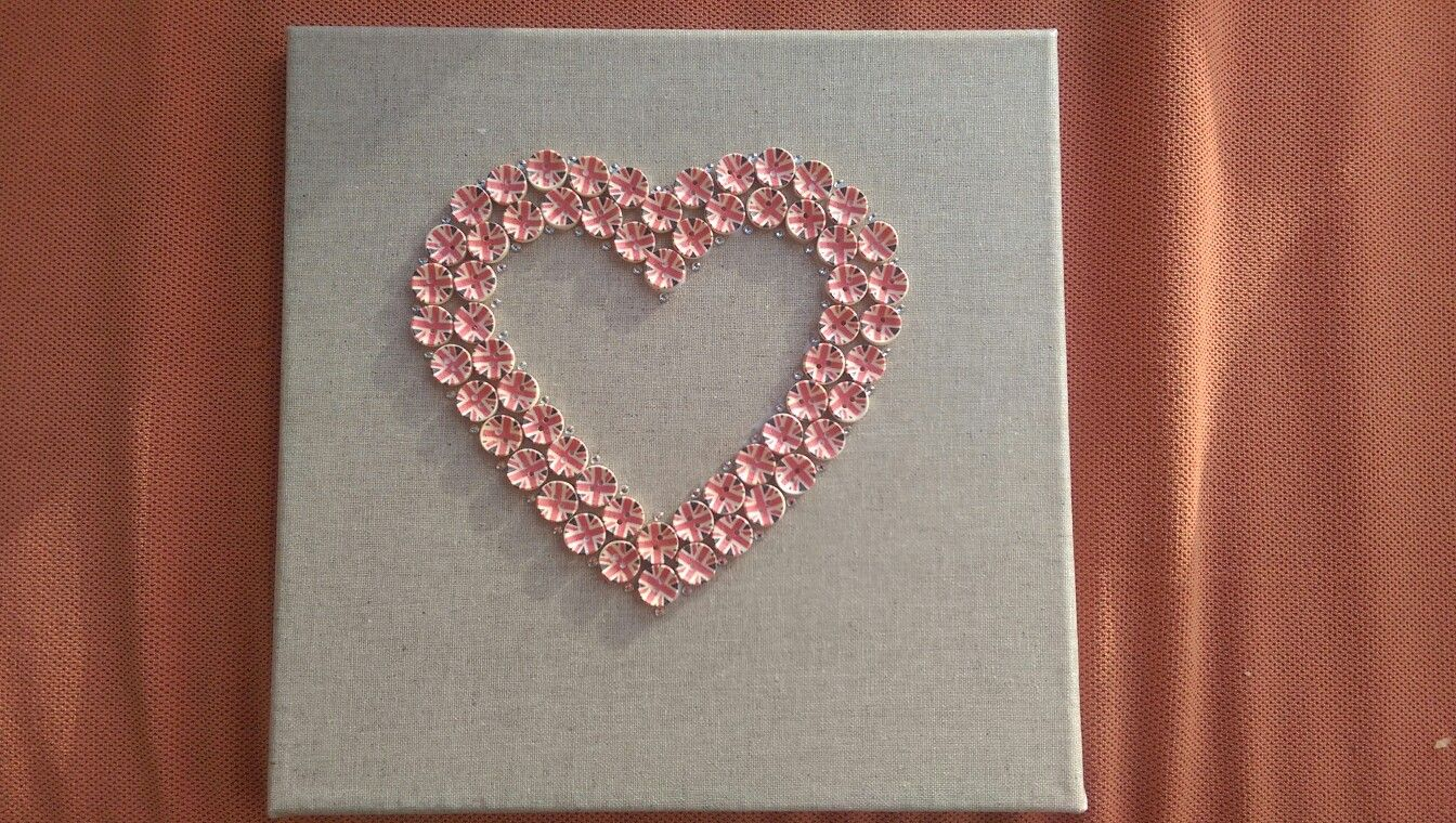 Simple union jack button and diamante heart  on canvas