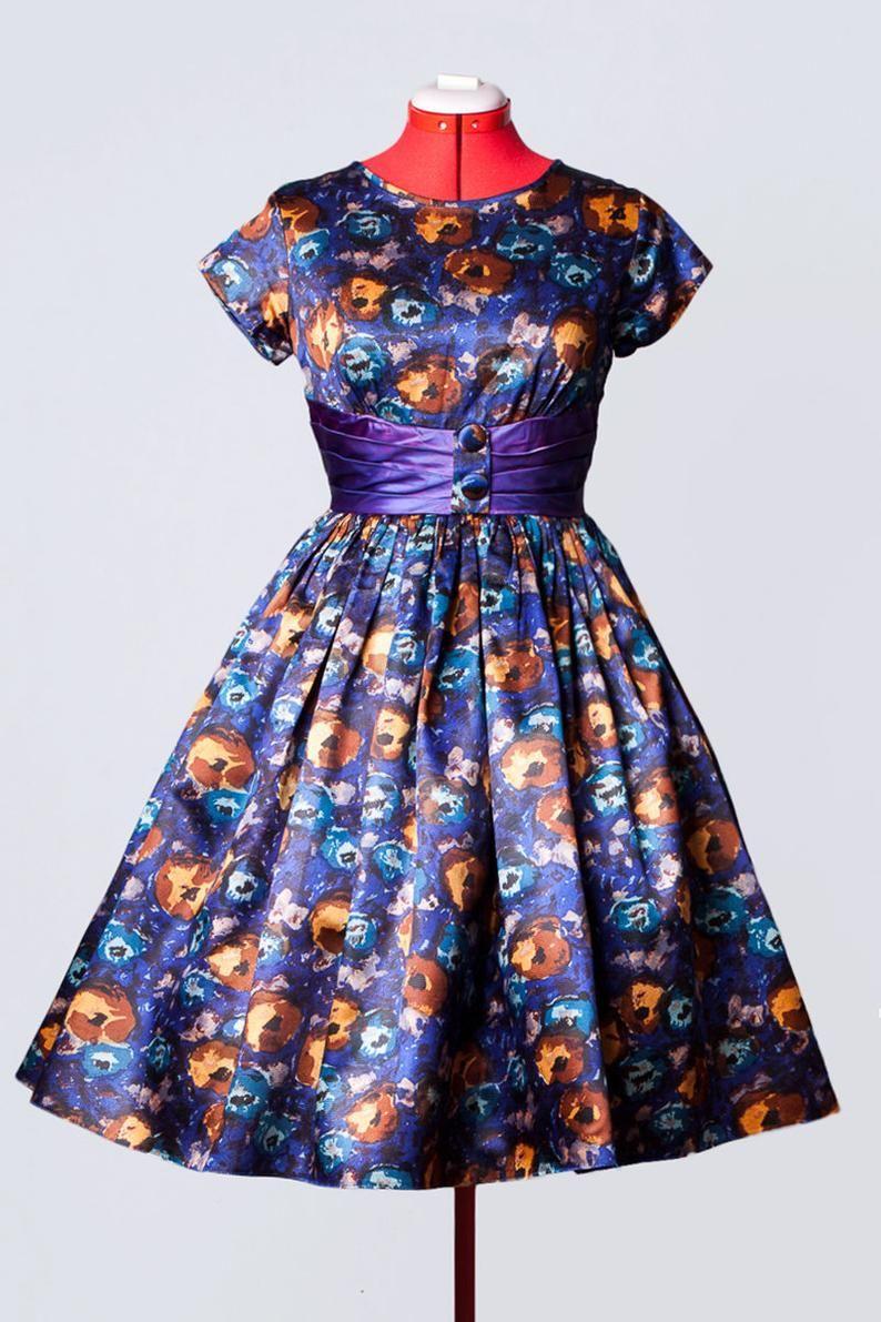 1960s Floral Print Cocktail Dress Etsy Satin Cocktail Dress Dresses Floral Prints [ 1191 x 794 Pixel ]