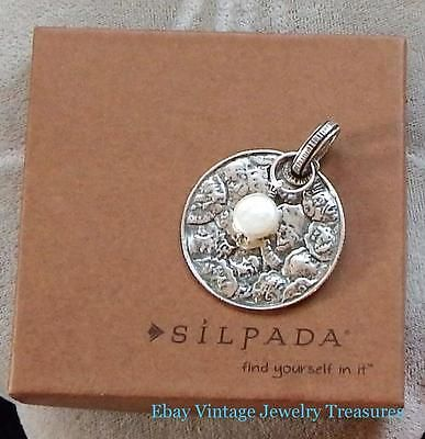 Silpada sterling silver round pendant with coin pearl accent s1955 aloadofball Images