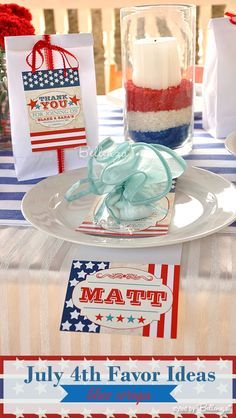 Blue packaging for July 4th wedding favors | as styled by Bellenza ...