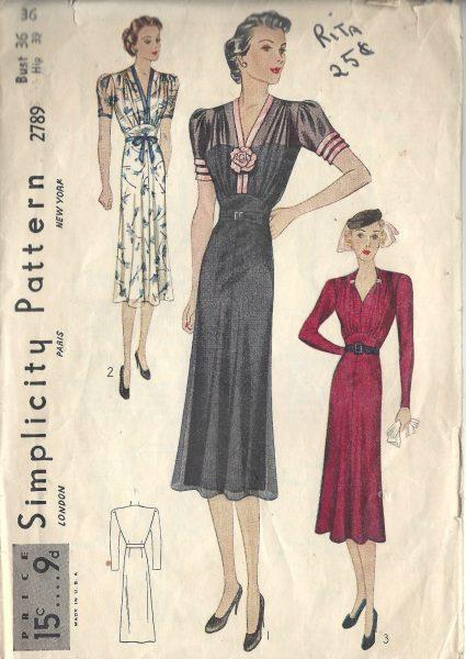 1930s Dress Patterns provided by The Vintage Pattern Shop