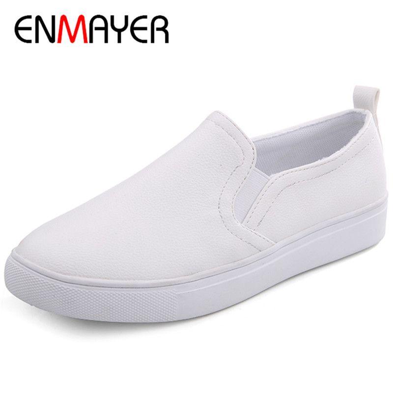 ENMAYER nuevo Blanco Spring and Autumn 3 Colors Blanco nuevo Zapatos Mujer Loafers 491abf