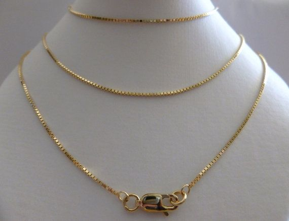 18k Solid Gold Box Chain 18ct Yellow Gold 1 5mm Assay Etsy Gold Chains For Men White Gold Chains Solid Gold Necklace