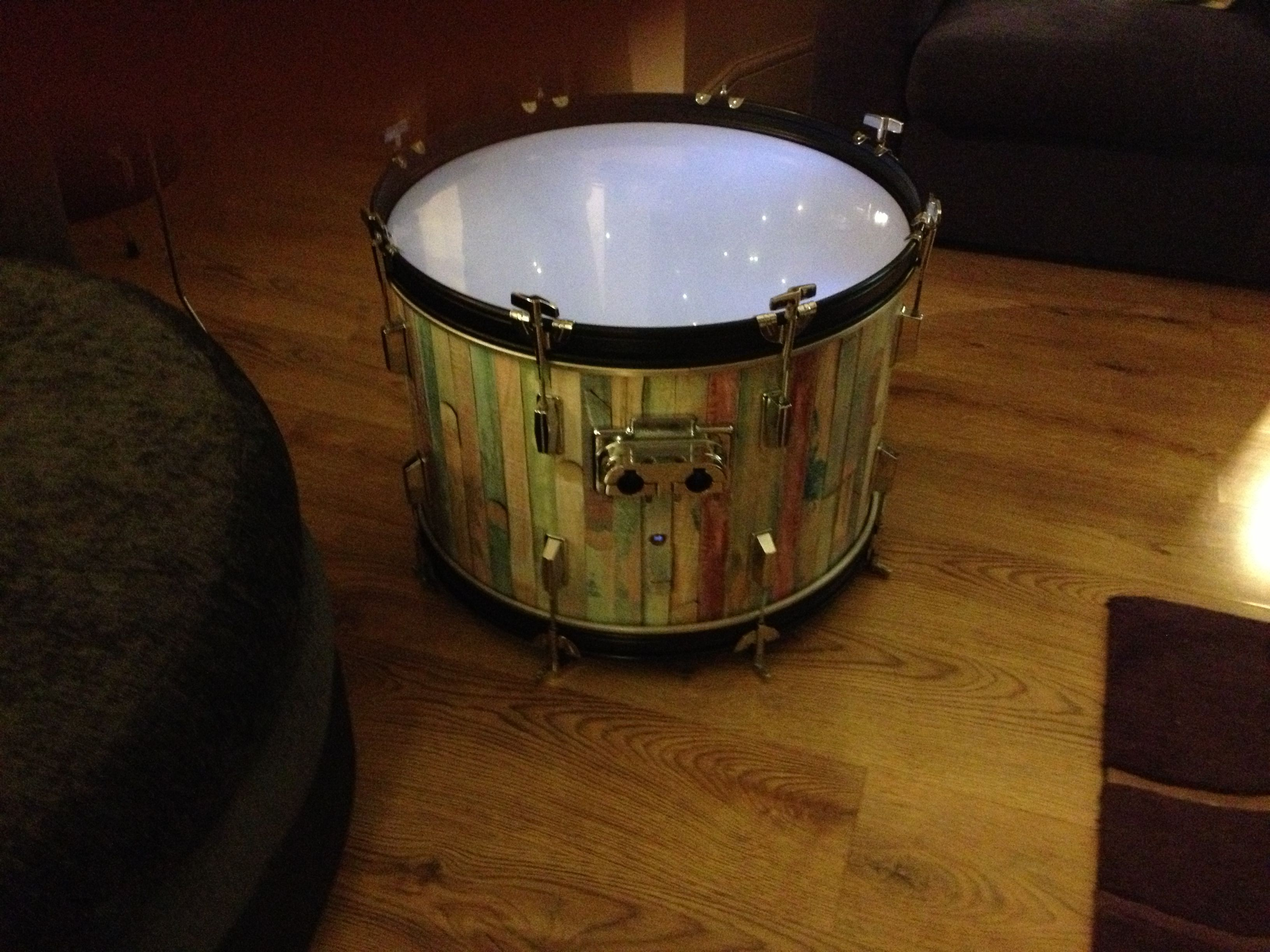 upcycled bass drum coffee table with LED lights inside cool