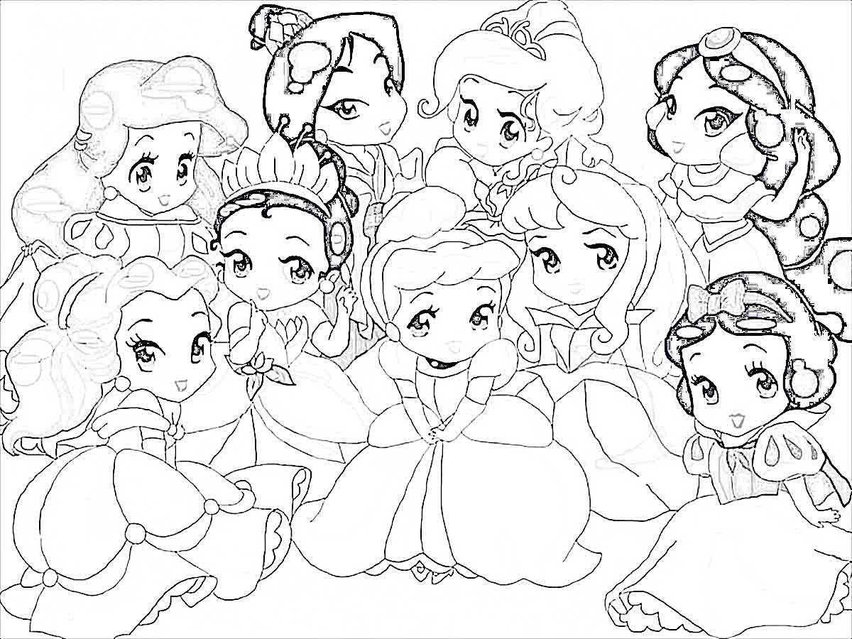 Free color pages princess - Baby Disney Princess Coloring Pages