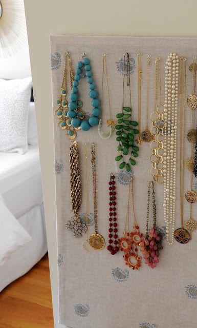 SIMPLE necklace organization cork board fabric stable gun push
