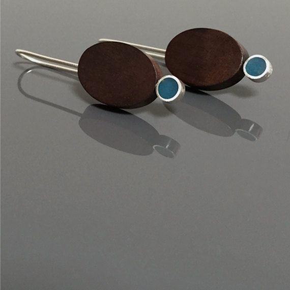BLUE DOT wood earrings silver mid century earrings by MetalObjects