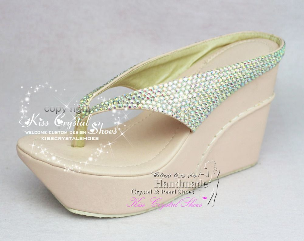 b5f7d597878581 Find More Women s Sandals Information about Crystal Wedge Flip Flops High  Heel Crystal Wedding Flip Flops 4 inch Heel Wedge Slippers Dress Wedge  Pumps for ...