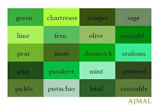 اسماء الالوان Green Colour Palette Shades Of Green Hotel