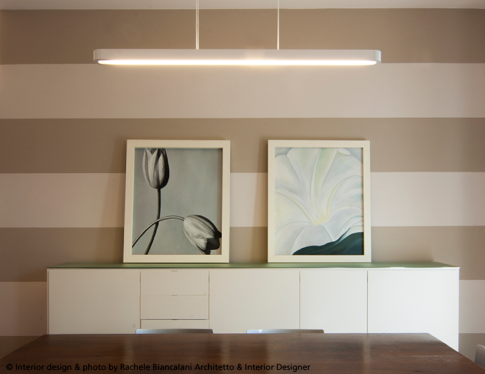 #Talo suspension, #design Neil Poulton. White finish. A great light above this dinning room