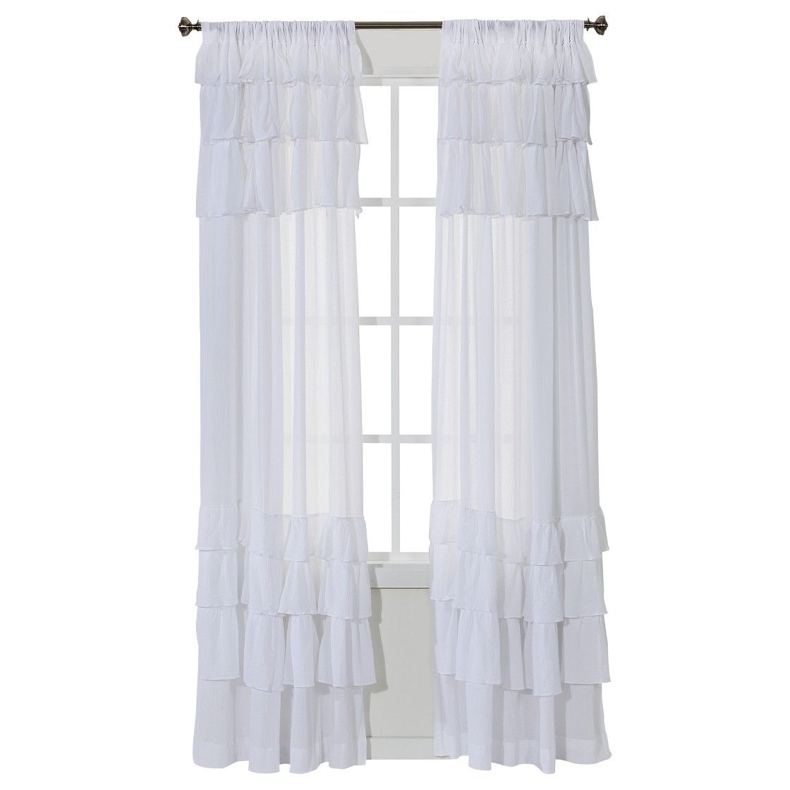 Ruffle Curtain Panel Simply Shabby Chic Horizontal Gauze Ruffle Curtain Panel White