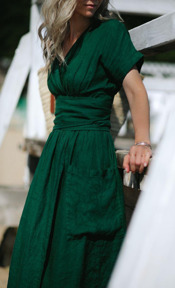 Linen kimono dress green