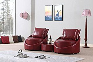 Mybestfurn Luxury Middle Thick Genuine Leather Sofa Couches Set, Filled With Feather Down Cushions Luxury Living Room Sofa Coffee Table Set- Wine Red