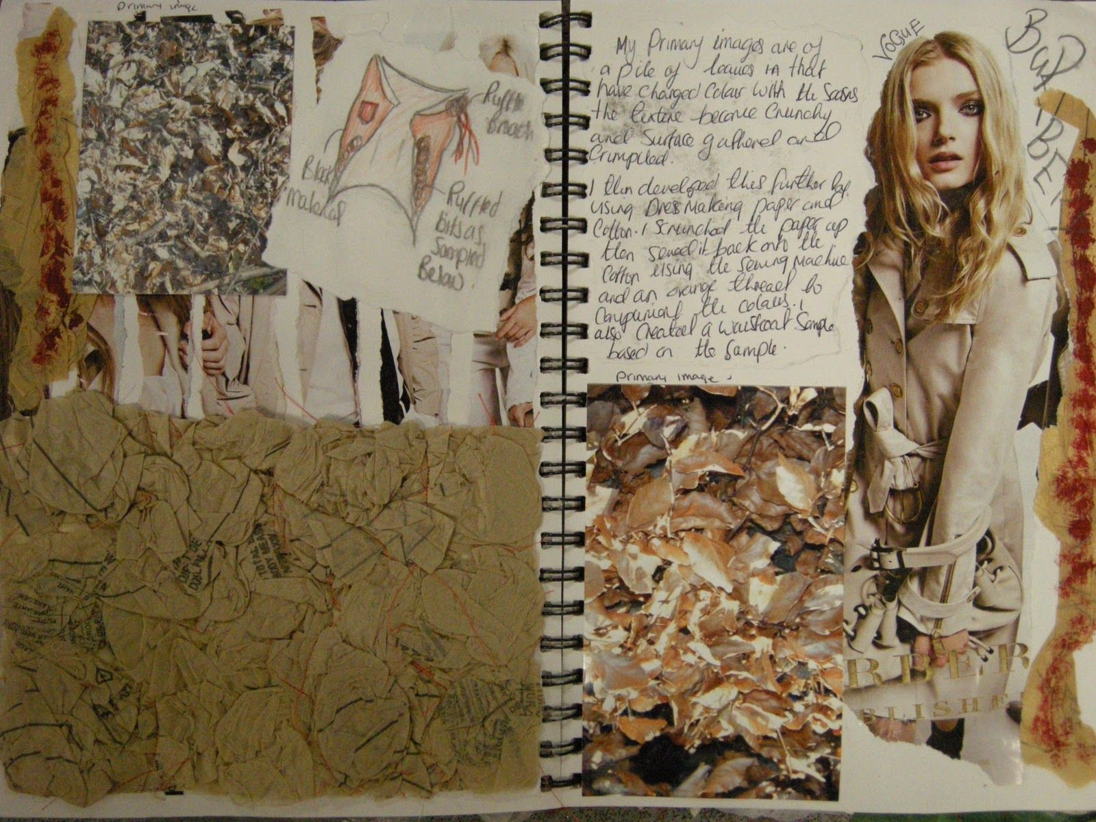 Fashion Sketchbook Fashion Design Inspired By Autumnal Leaves With Textiles Texture