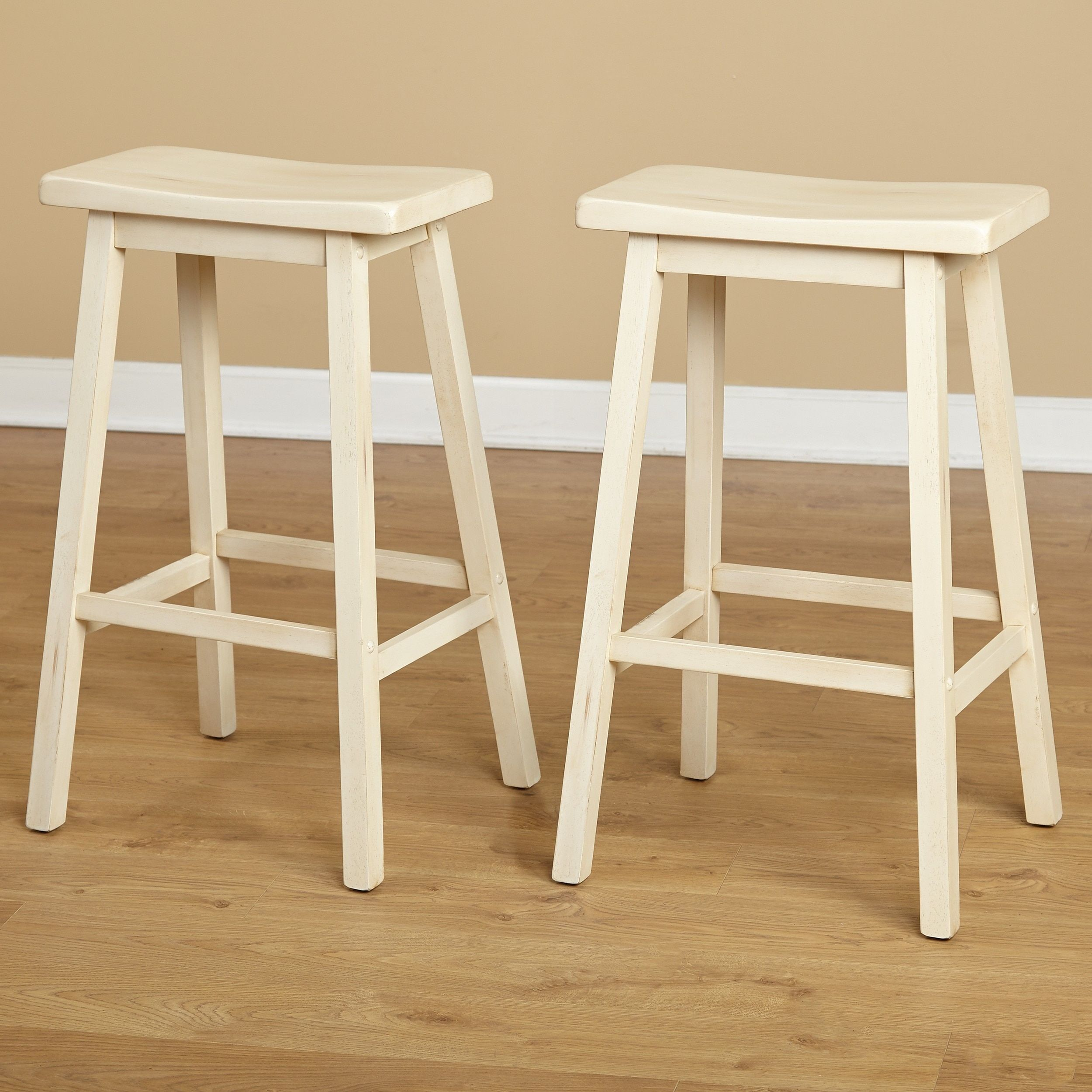 Simple living marney rubberwood bar stool saddle set of 2 marney 29 inch buttermilk beige off white