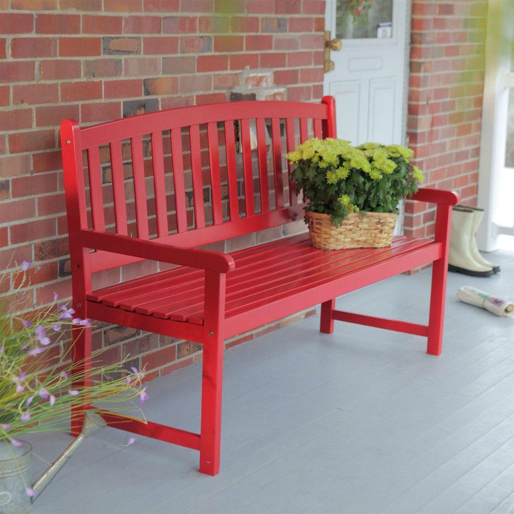 5 Ft Outdoor Garden Bench In Red Wood