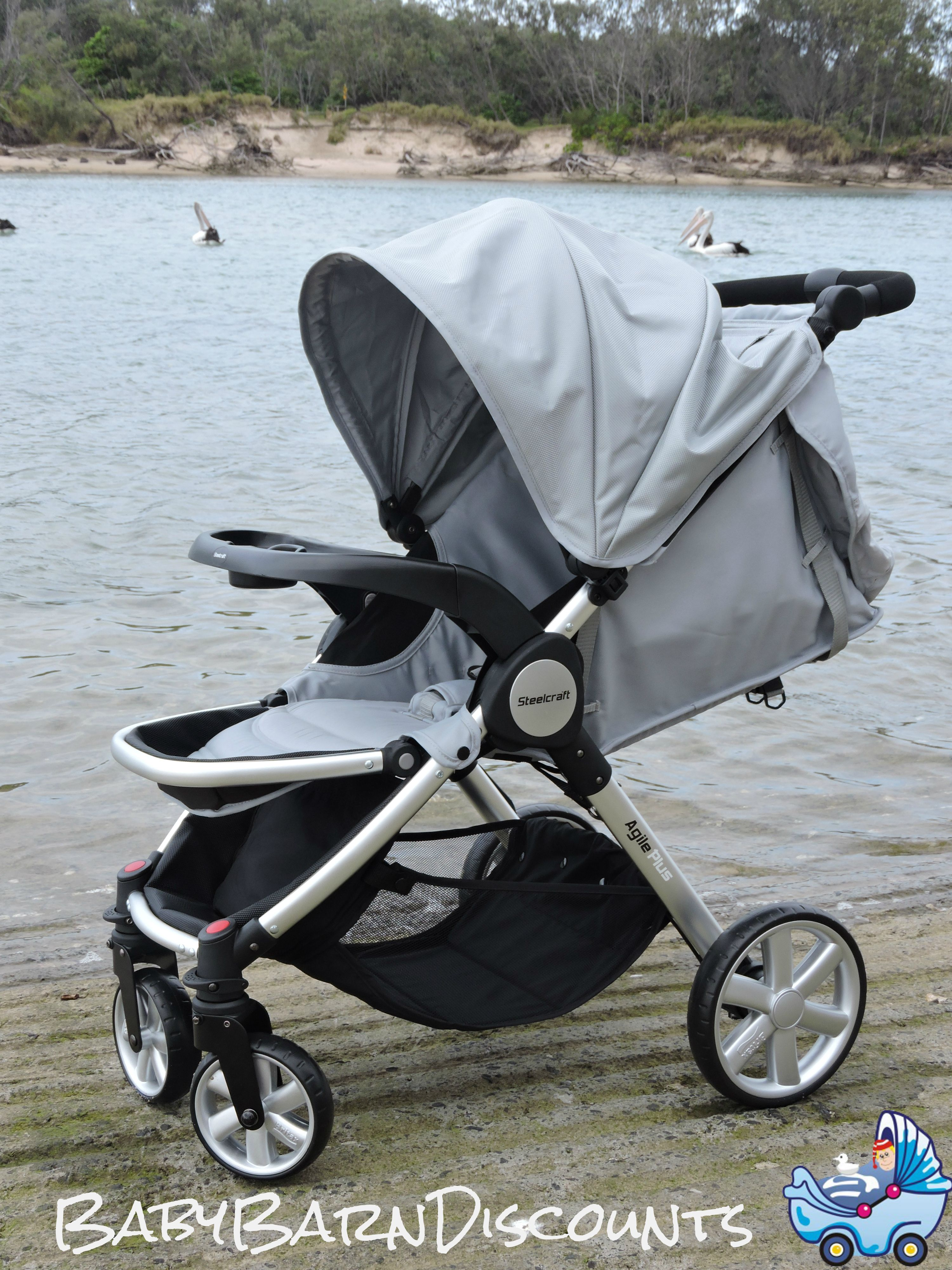 The Steelcraft Agile Plus is a lightweight quick fold travel system stroller designed for