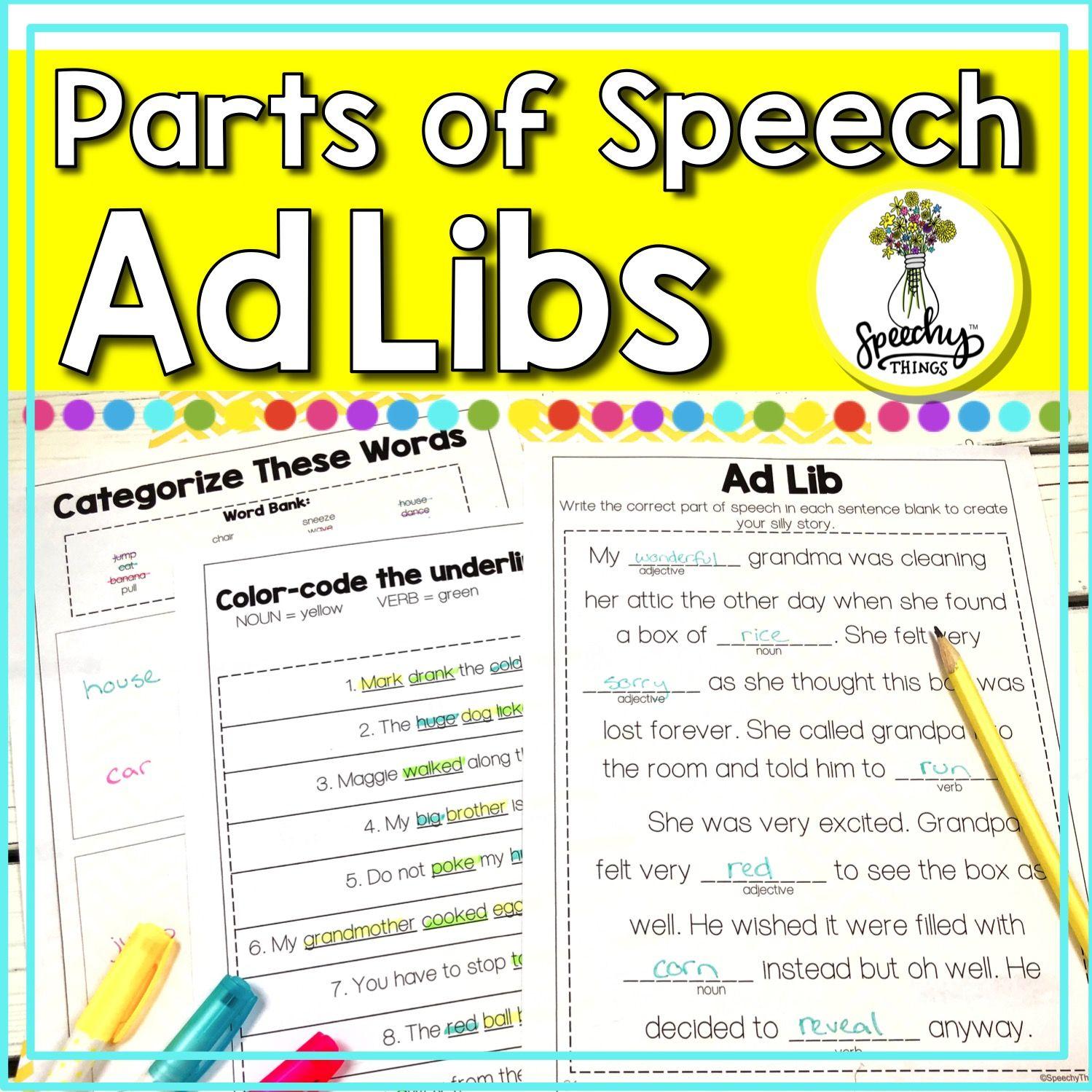 Parts Of Speech Worksheets Amp Adlibs In
