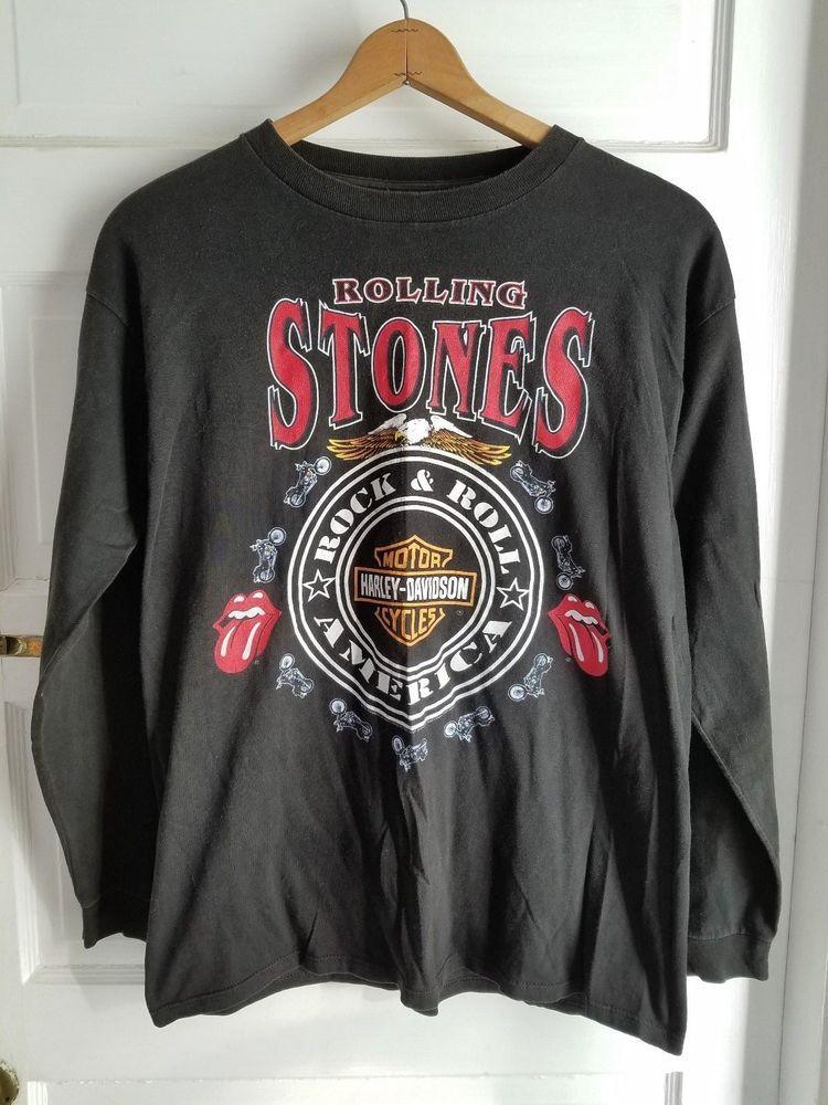 Vintage 90s Rolling Stones Harley Davidson Long Sleeve Tee T Shirt Mens L Black Long Sleeve Tshirt Men Long Sleeve Tees Mens Shirts