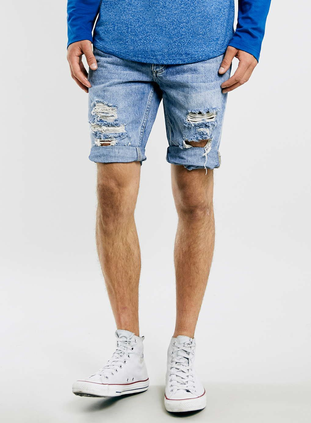 Bleach Ripped Skinny Denim Shorts - Slim Jeans- TOPMAN | Wardrobe ...