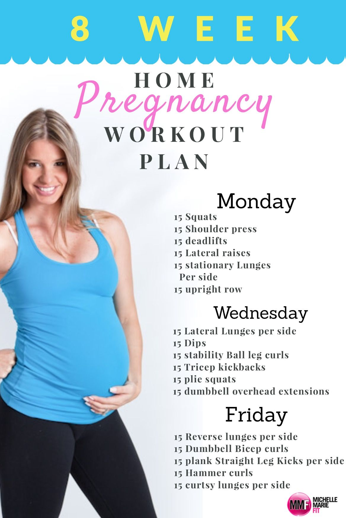 ac7589ca6b46b 8 Week Home Pregnancy Workout Plan. All exercises safe and using body  weight or dumbbells