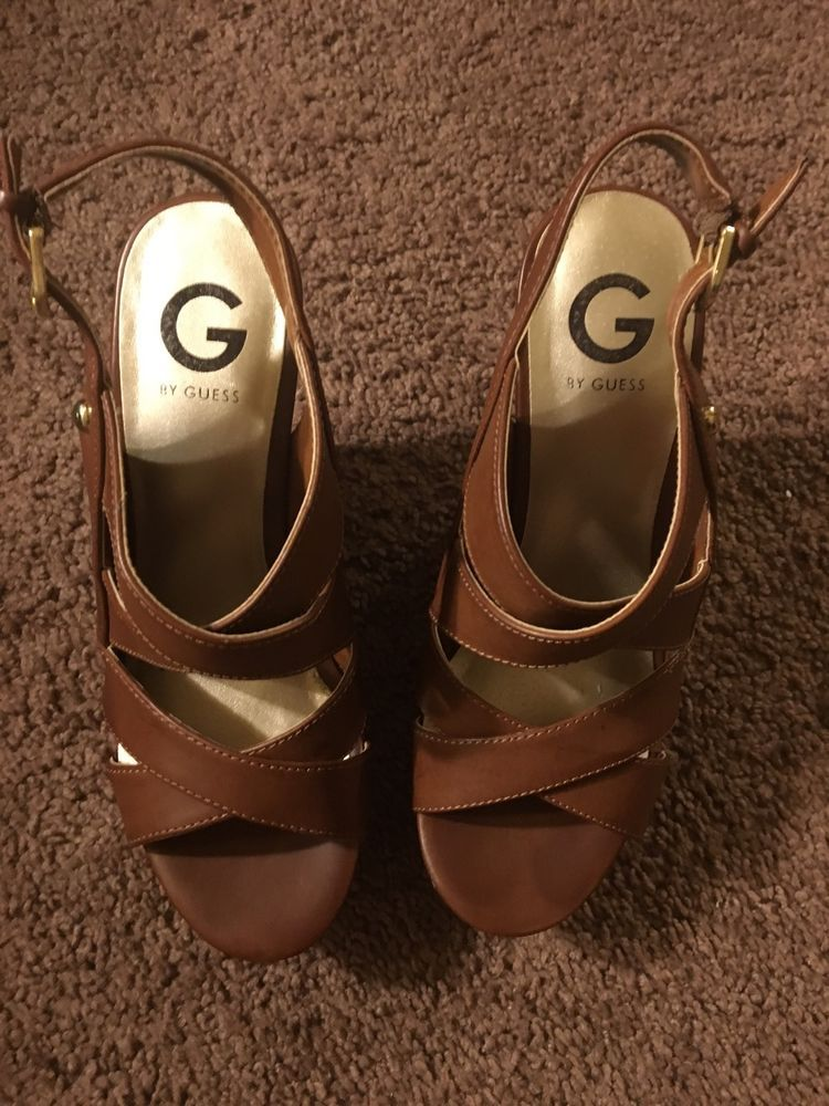 Womens Guess Platform Sandals Size 7 Brown and Tan   eBay