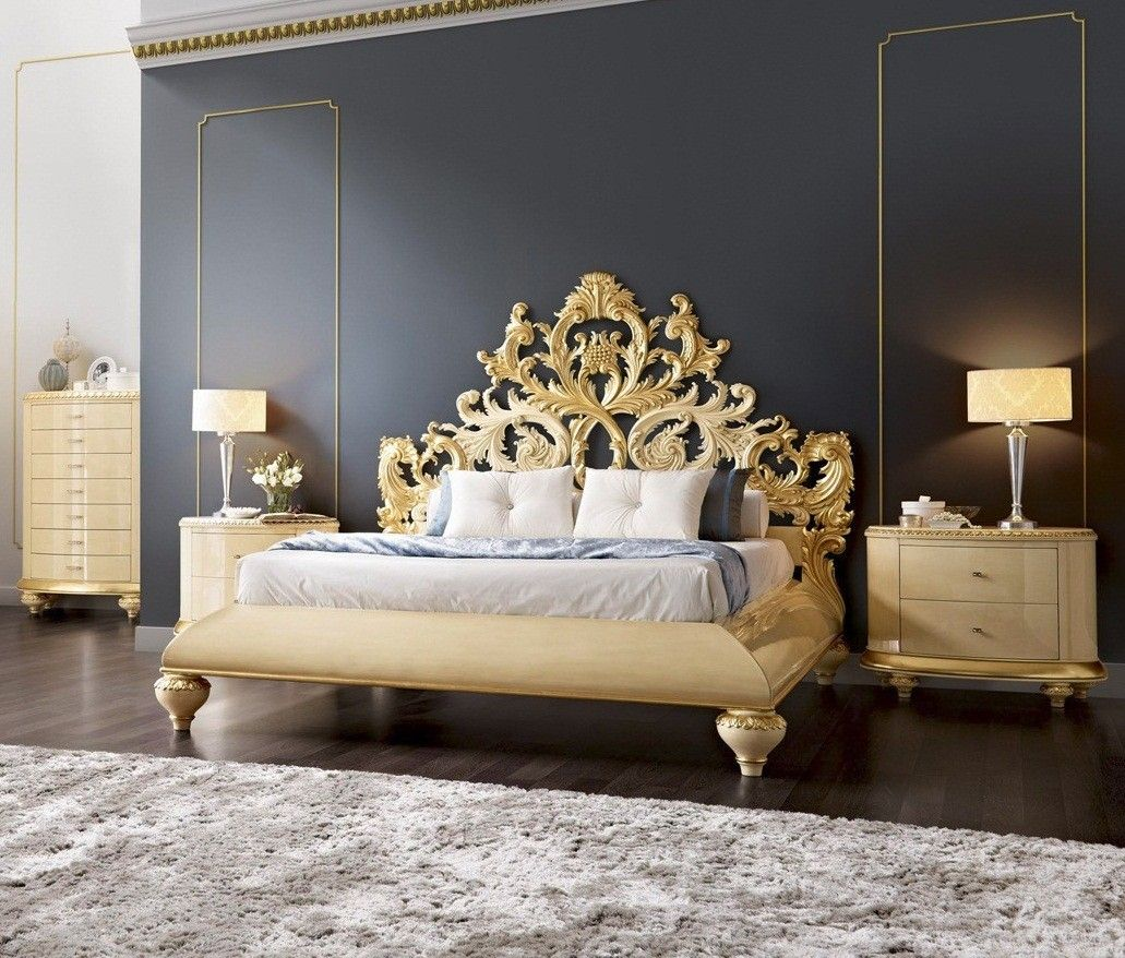 Cream and gold bedroom ideas - Gold And Glossy Cream Carved Royal Queen Bedstead With Headboard Master Bedroom