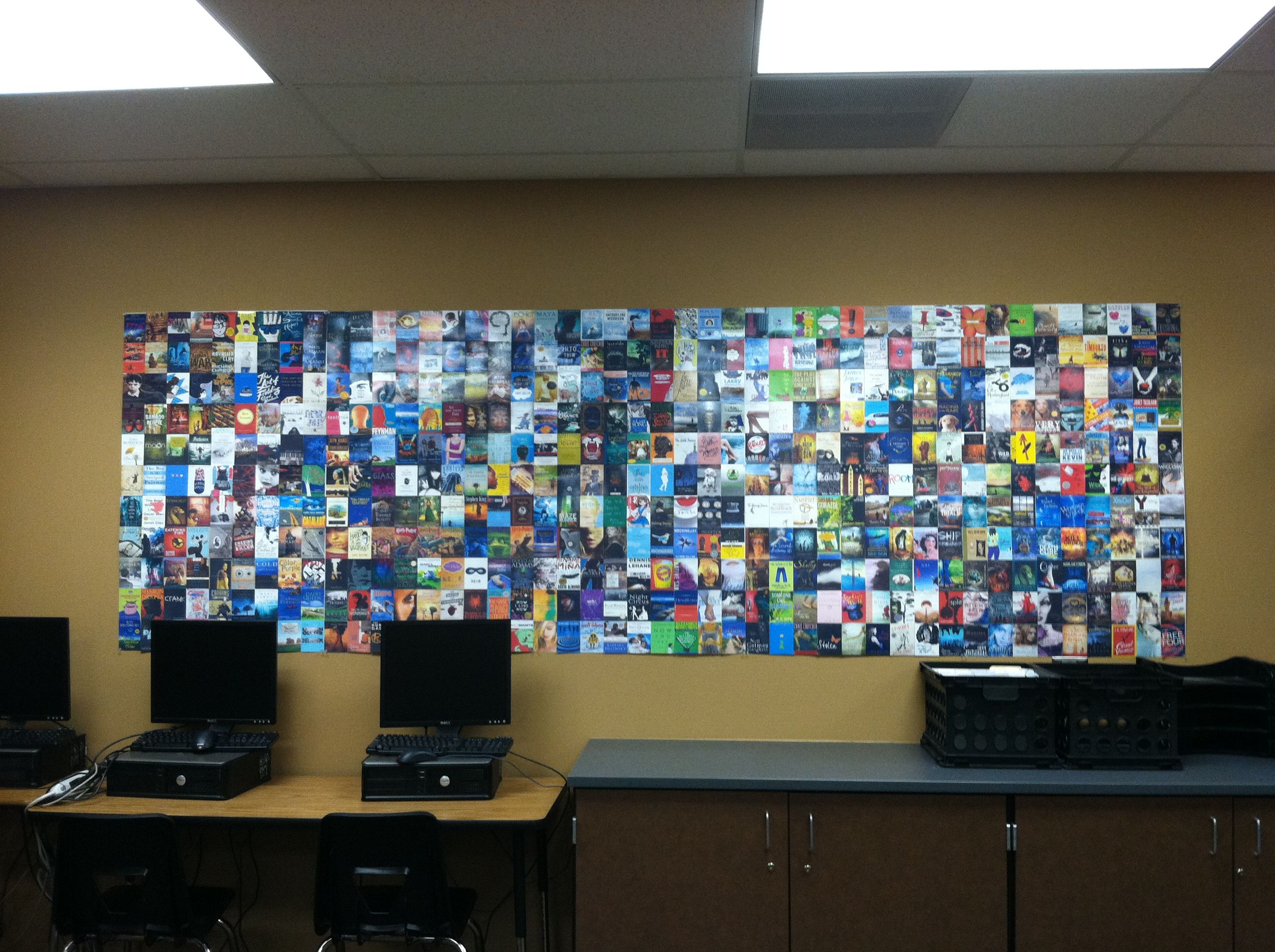 High school english classroom decoration book wall teen reads ultimate teen reading list - Classroom wall decor ...